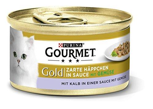 gourmet gold zarte h ppchen katzenfutter in sauce mit kalb und gem se 12er pack 12 x 85 g taketik. Black Bedroom Furniture Sets. Home Design Ideas