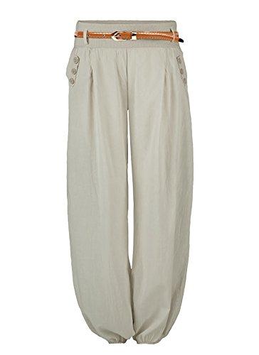 64c168d9c7096b Damen Haremshose Elegant Pumphose Lange Leinen Hose mit Gürtel Aladin Pants
